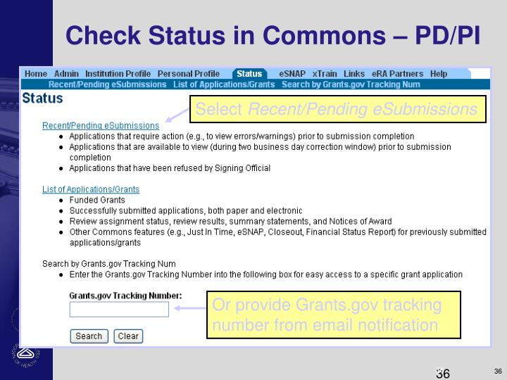 Check Status in Commons – PD/PI