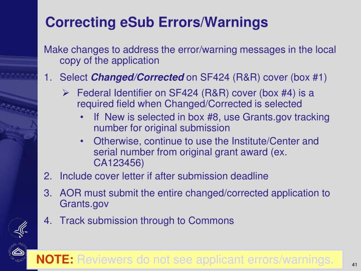 Correcting eSub Errors/Warnings