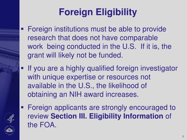 Foreign Eligibility