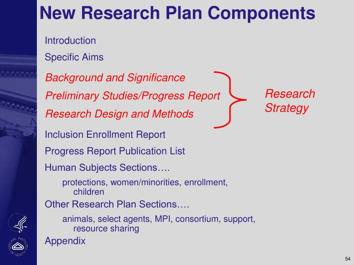 New Research Plan Components
