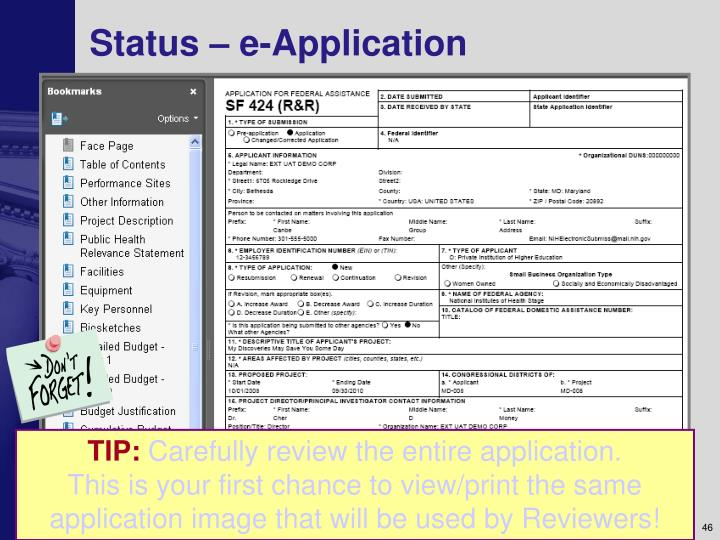 Status – e-Application