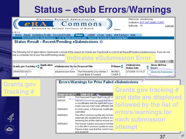 Status – eSub Errors/Warnings