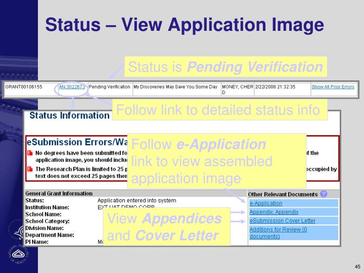 Status – View Application Image