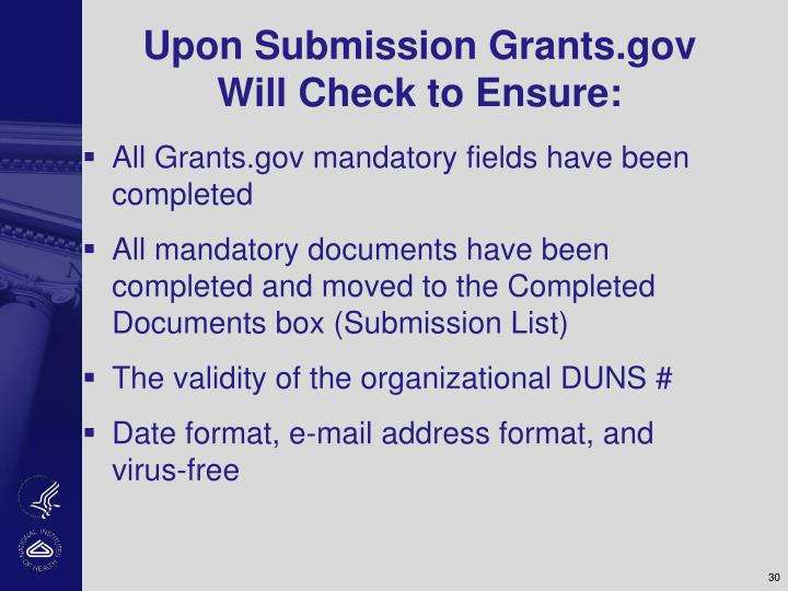 Upon Submission Grants.gov