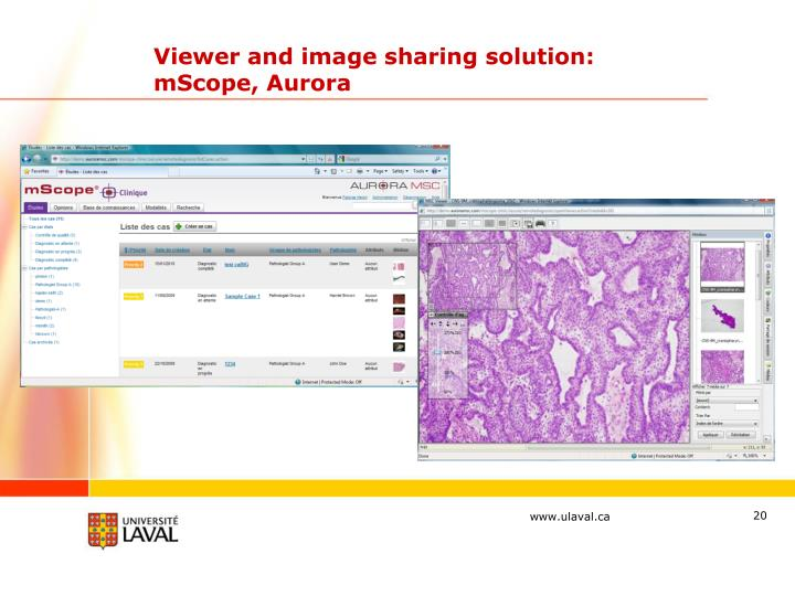 Viewer and image sharing solution:  mScope, Aurora