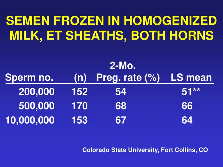 SEMEN FROZEN IN HOMOGENIZED MILK, ET SHEATHS, BOTH HORNS