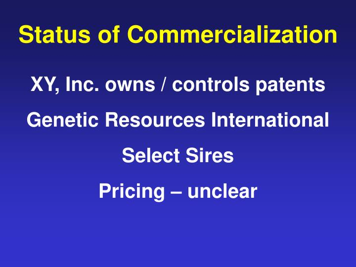 Status of Commercialization