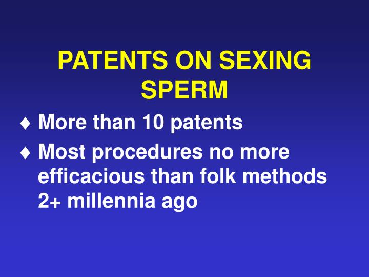 PATENTS ON SEXING SPERM