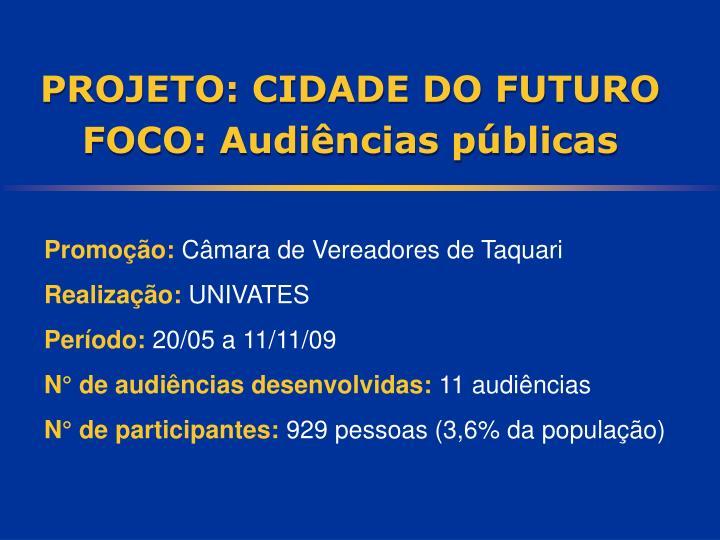 PROJETO: CIDADE DO FUTURO