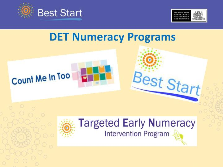 DET Numeracy Programs