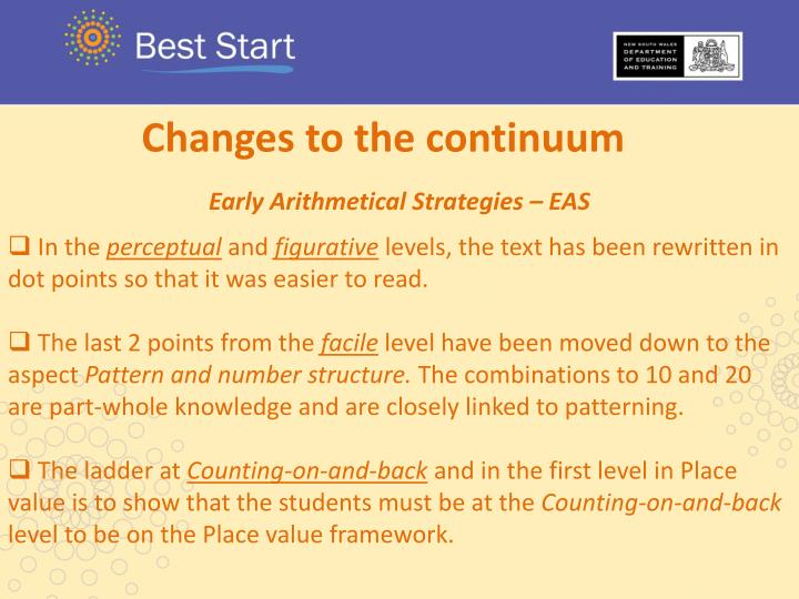 Changes to the continuum