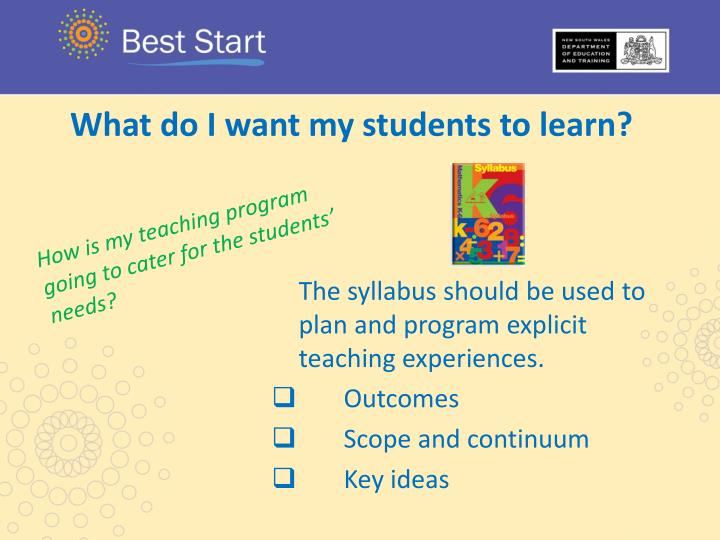 What do I want my students to learn?