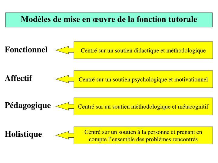 Modèles de mise en œuvre de la fonction tutorale