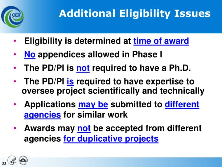 Additional Eligibility Issues