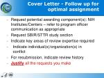 cover letter follow up for optimal assignment