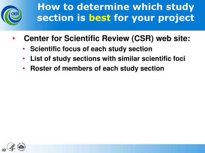 How to determine which study section is