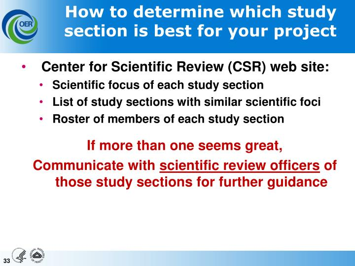 How to determine which study section is best for your project