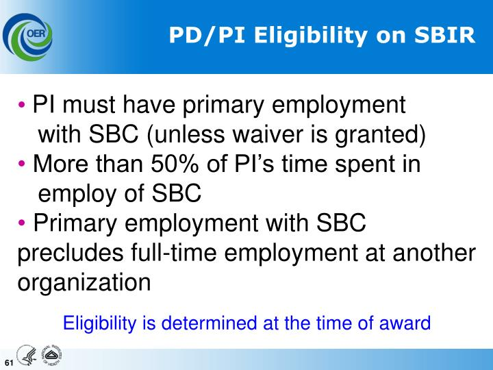 PD/PI Eligibility on SBIR