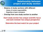 relationship between project and study section1