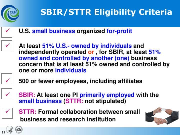 SBIR/STTR Eligibility Criteria