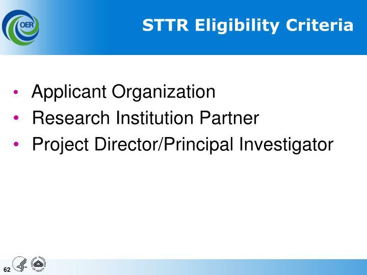 STTR Eligibility Criteria