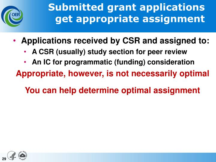 Submitted grant applications get appropriate assignment