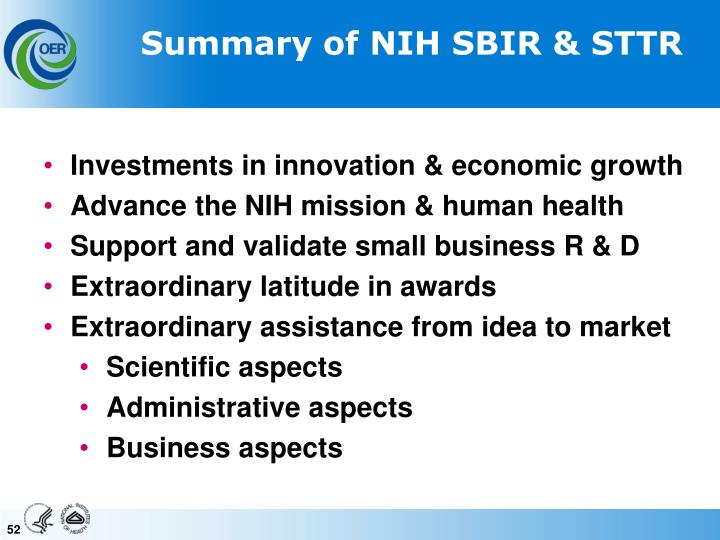 Summary of NIH SBIR & STTR