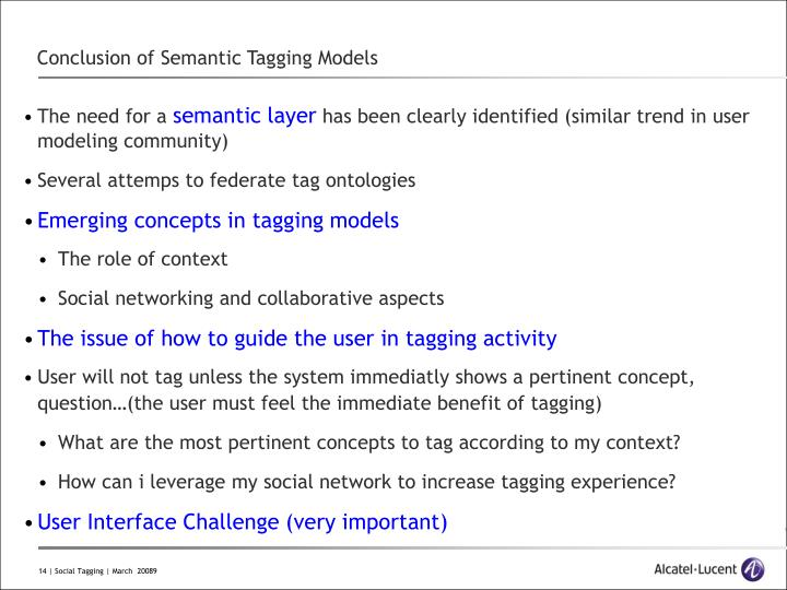 Conclusion of Semantic Tagging Models