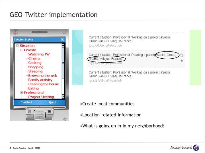 GEO-Twitter implementation