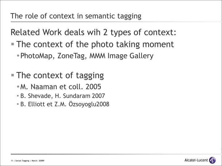 The role of context in semantic tagging