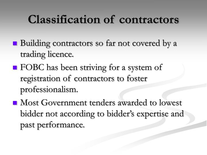 Classification of contractors