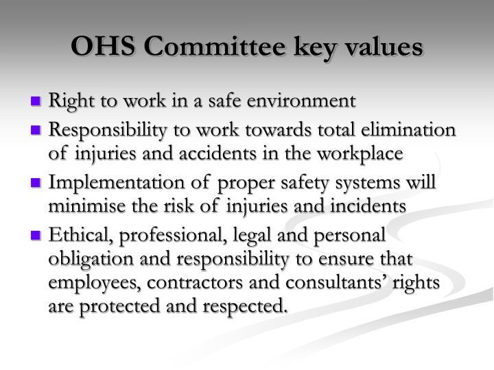OHS Committee key values