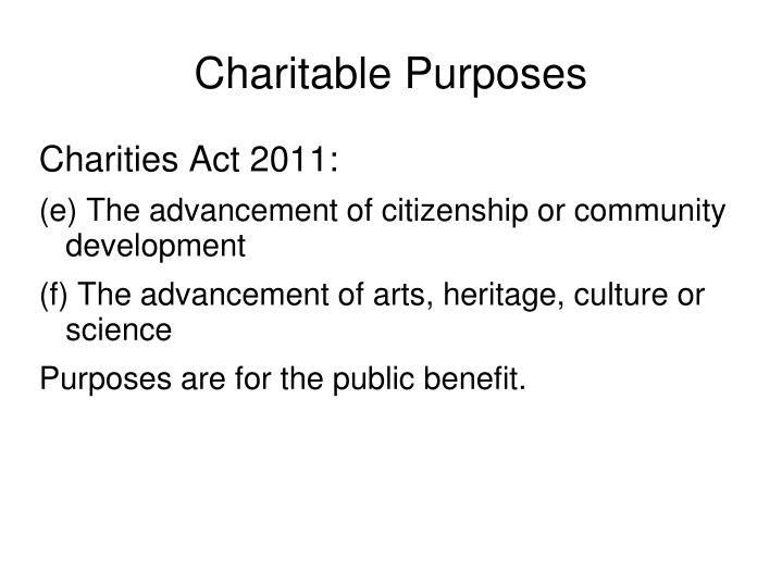 Charitable Purposes