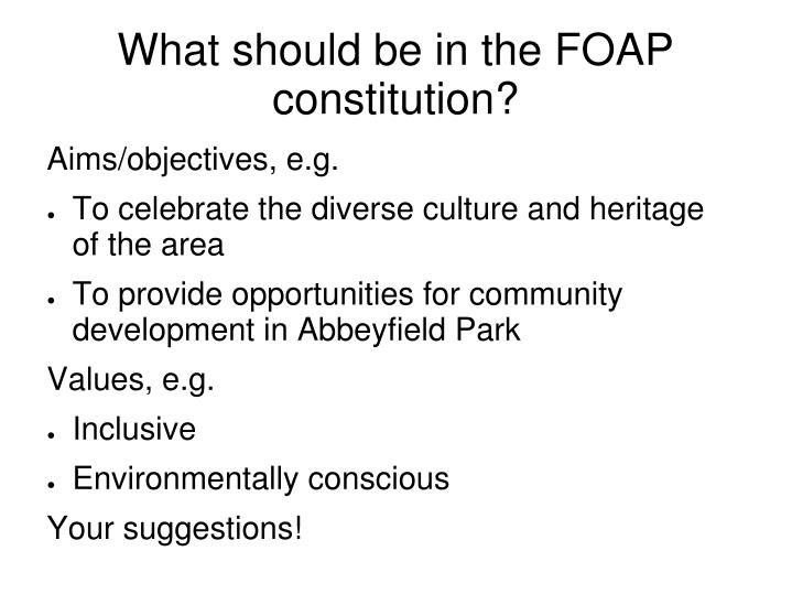 What should be in the FOAP constitution?