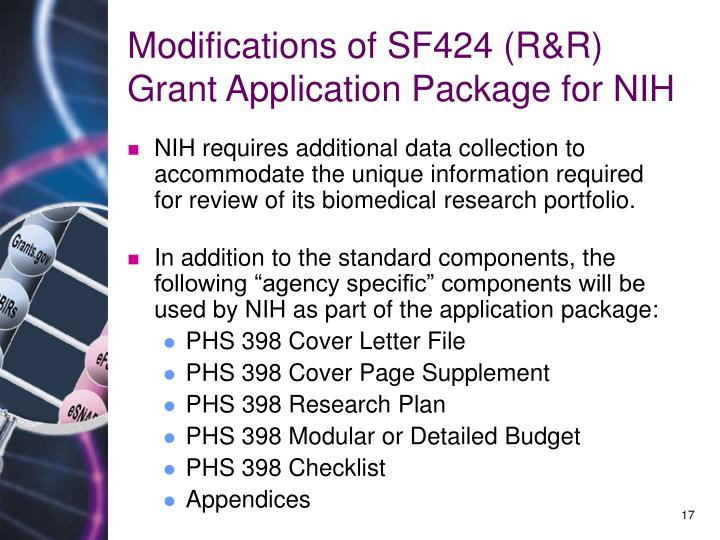 Modifications of SF424 (R&R) Grant Application Package for NIH