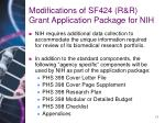 modifications of sf424 r r grant application package for nih