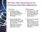 nih uses two linked systems for processing submitted eapplications