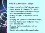 post esubmission steps