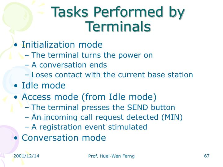 Tasks Performed by Terminals