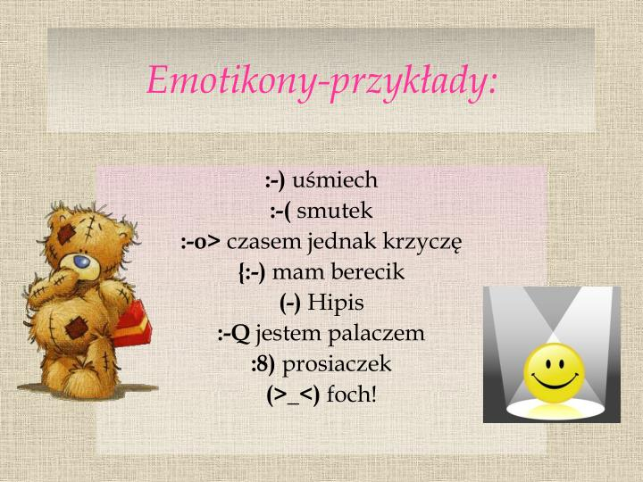 Emotikony-przykłady: