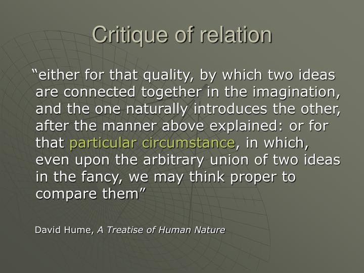 Critique of relation