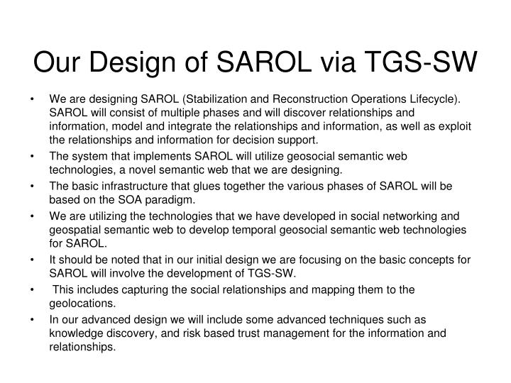 Our Design of SAROL via TGS-SW