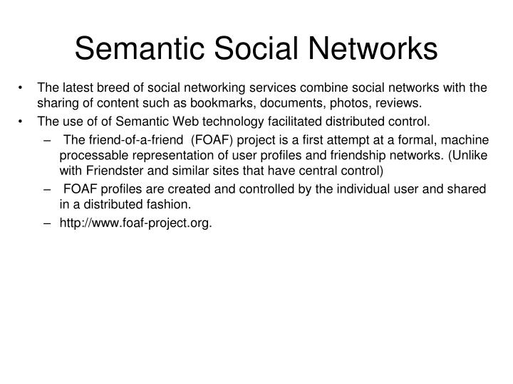 Semantic social networks