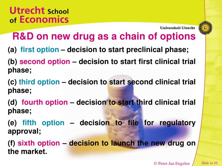 R&D on new drug as a chain of options