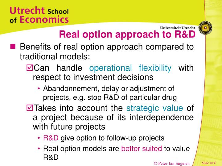 Real option approach to R&D