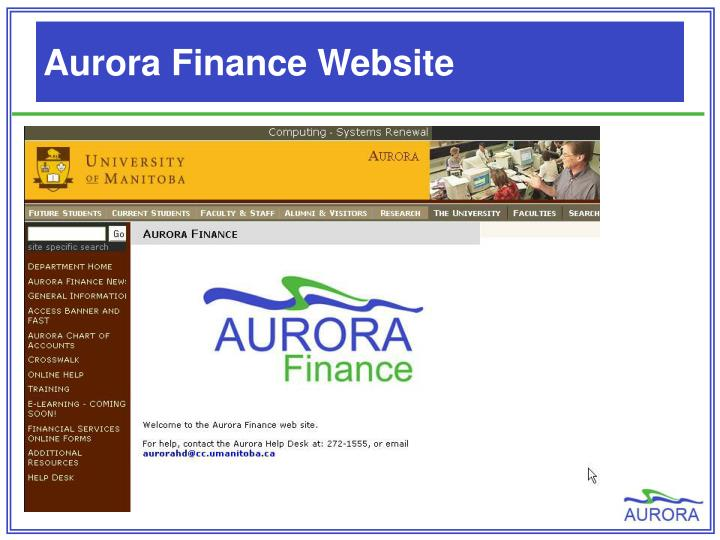 Aurora Finance Website