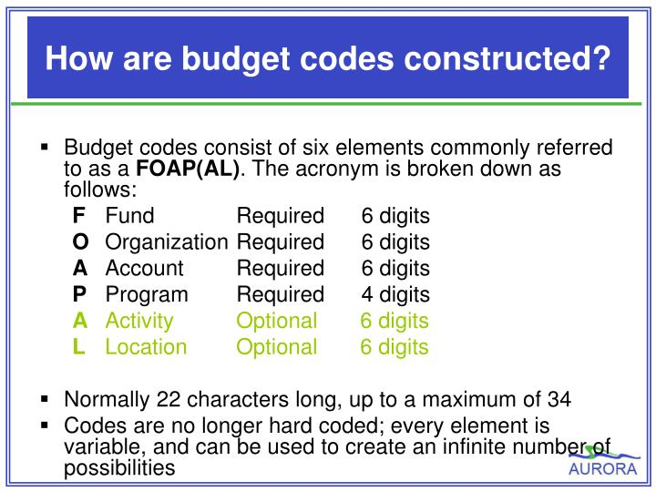 How are budget codes constructed?