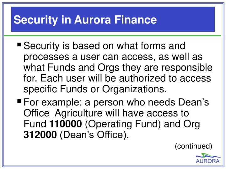 Security in Aurora Finance
