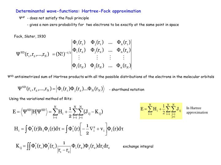 Determinantal wave-functions: Hartree-Fock approximation
