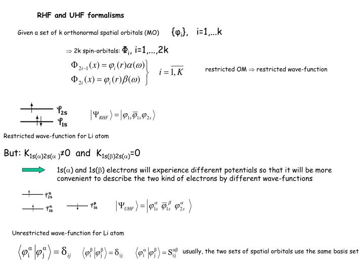 RHF and UHF formalisms